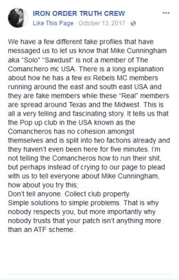 Mike Cunningham Comancheros mc Iron Order Truth Crew