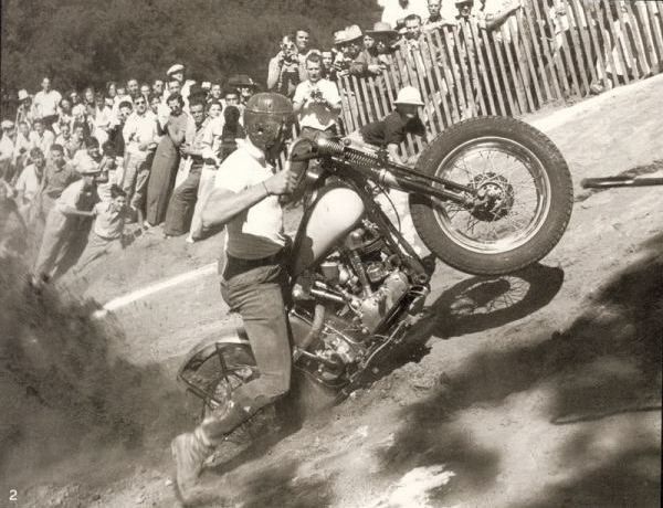 vintage motorcycle hill climb