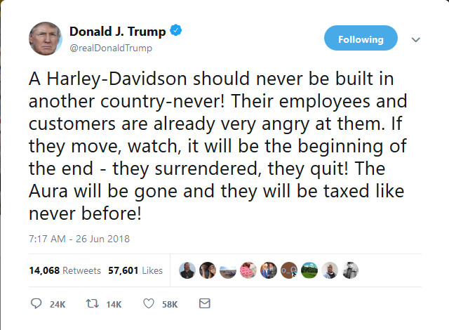 Donald Trump Tweet on Harley Davidson