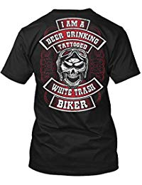 Beer Tshirt I Am A Beer Drinker Tattooed White Trash Biker Beer Tshirt for Men