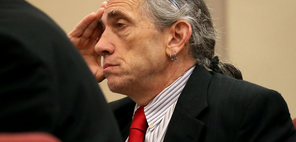 Ferdinand Augello looks on as former Pagan Motorcycle Club member Andrew Glick testifies at the Atlantic County Justice Facility in Mays Landing, Monday, Sept. 17, 2018. Augello is accused of setting up the killing of April Kauffman to protect an Oxycontin ring Augello and Dr. James Kauffman allegedly set up.