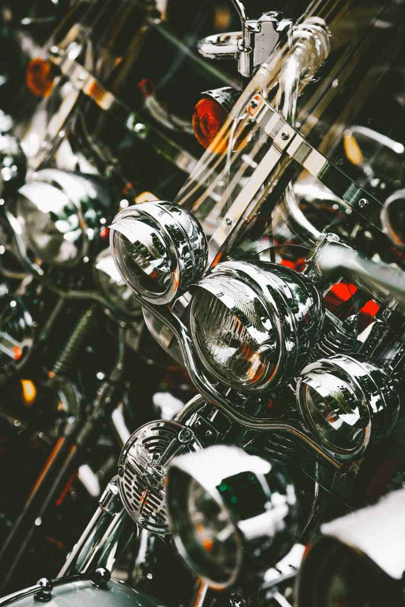 close up photo of motorbike headlights