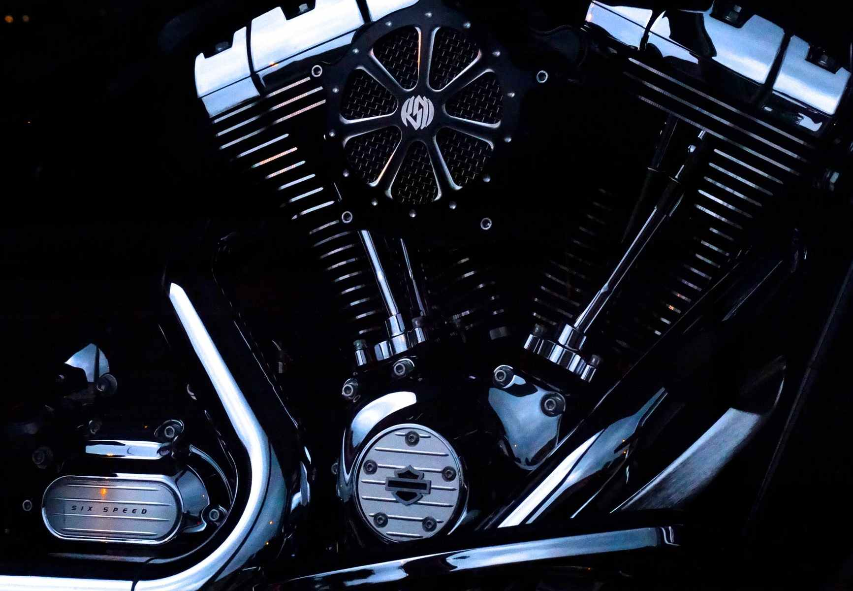 black motorcycle engine